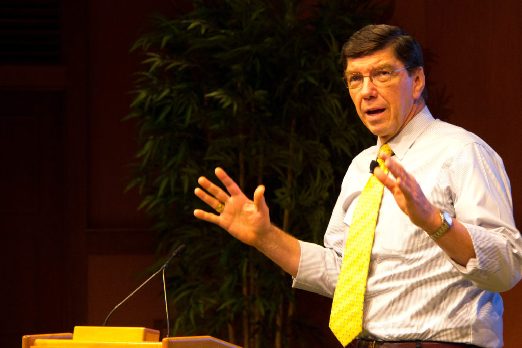 Clayton Christensen speaking at Harvard Business School.